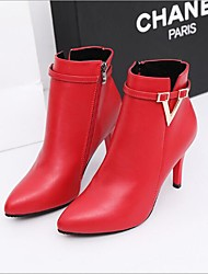 Недорогие -Жен. Обувь Нубук / Полиуретан Осень Удобная обувь Ботинки На шпильке Серый / Красный / Зеленый