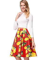 cheap -TS - Dreamy Land Women's Going out A Line Skirts - Floral / Fruit
