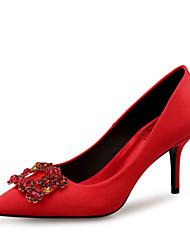 preiswerte -Damen Schuhe Seide Frühling Sommer Pumps High Heels Stöckelabsatz Spitze Zehe Glitter Schwarz / Rot / Hochzeit / Party & Festivität