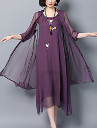 baratos -Mulheres Tamanhos Grandes Feriado Sofisticado / Moda de Rua Delgado Bainha / balanço Vestido Sólido / Floral Cintura Alta Médio