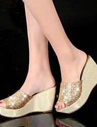 cheap -Women's Shoes Silicone Summer Comfort Slippers & Flip-Flops Wedge Heel for Gold Silver