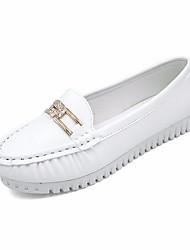 abordables -Femme Chaussures Polyuréthane Printemps Confort / Moccasin Mocassins et Chaussons+D6148 Talon Plat Noir / Bleu / Rose