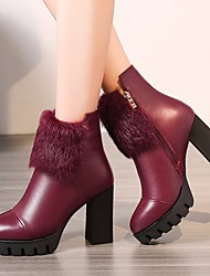 cheap -Women's Shoes Cowhide Winter Fashion Boots Boots Chunky Heel Booties / Ankle Boots Black / Wine