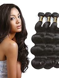 Недорогие -3 Связки Перуанские волосы / Естественные кудри Волнистый Необработанные / 100% Remy Hair Weave Bundles Подарки Ткет человеческих волос Удлинитель / Лучшее качество / Для темнокожих женщин
