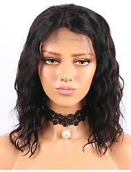 cheap -Remy Human Hair Lace Front Wig Wig Brazilian Hair / Water Wave Wavy Short Bob / Middle Part 130% Density Natural Hairline Women's Short Human Hair Lace Wig