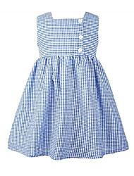 f0f5c7630b48 Baby Pige Basale Ensfarvet Uden ærmer Polyester Kjole Blå