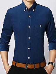 baratos -Homens Camisa Social Básico Sólido / Listrado