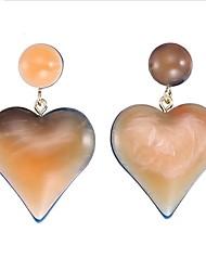 cheap -Women's Drop Earrings / Hoop Earrings - Heart European, Fashion Light Brown / Dark Green For Wedding / Daily