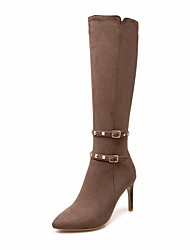 cheap -Women's Shoes Nubuck leather Fall & Winter Fashion Boots Boots Stiletto Heel Pointed Toe Knee High Boots Brown / Red / Green