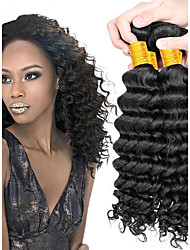 cheap -4 Bundles Brazilian Hair / Deep Wave Curly Human Hair Human Hair Extensions Human Hair Weaves Cute / New Arrival / Hot Sale Natural Color Human Hair Extensions Women's
