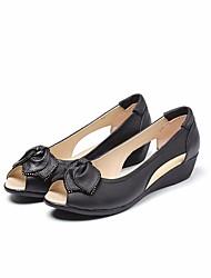 Недорогие -Жен. Обувь Кожа Лето Удобная обувь На плокой подошве Туфли на танкетке Черный / Серый / Желтый