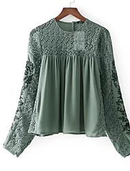 abordables -Mujer Básico Encaje / Bordado / Retazos Blusa Floral
