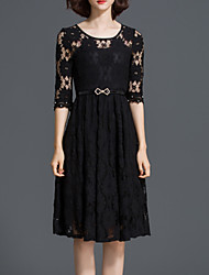 cheap -Women's Basic A Line Dress - Solid Colored Lace