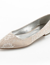 cheap -Women's Shoes Lace Summer Comfort / Ballerina Wedding Shoes Flat Heel Pointed Toe Rhinestone / Sparkling Glitter Silver / Champagne /