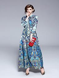 Χαμηλού Κόστους -Γυναικεία Βασικό Swing Φόρεμα - Γεωμετρικό, Στάμπα Μακρύ Κολάρο Πουκαμίσου