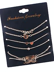abordables -Effets superposés / Empiler Charmes pour Bracelets - Cœur, Infini simple, Mode, Multicouches Bracelet Or Pour Quotidien