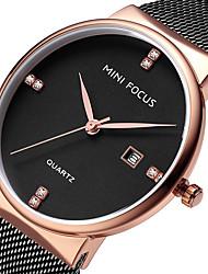 preiswerte -MINI FOCUS Herrn Armbanduhr Kalender / Armbanduhren für den Alltag Edelstahl Band Luxus / Minimalistisch Schwarz / Blau / Gold