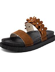 povoljno -Žene Cipele PU Ljeto Udobne cipele Papuče i japanke Hodanje Ravna potpetica Otvoreno toe Mašnica za Vanjski Braon / Badem