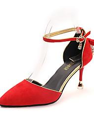 baratos -Mulheres Sapatos Camurça Primavera Verão Conforto Saltos Caminhada Salto Agulha Dedo Apontado Amarelo / Vermelho / Amêndoa