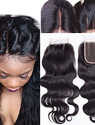 cheap -Guanyuwigs Brazilian Hair 4x4 Closure Wavy Free Part / Middle Part / 3 Part Swiss Lace Human Hair Women's With Baby Hair / Soft / Silky Dailywear / Daily