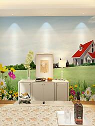 baratos -papel de parede / Mural Tela de pintura Revestimento de paredes - adesivo necessário Floral / Art Deco / Padrão