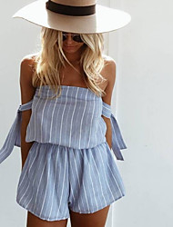 cheap -Women's Going out Romper - Striped High Waist Strapless / Off Shoulder / Boat Neck