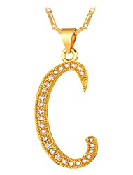 preiswerte -Herrn Kubikzirkonia Anhängerketten - Alphabet Form, Buchstabe Modisch Gold, Silber 55 cm Modische Halsketten Für Geschenk, Alltag