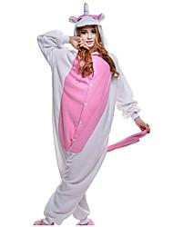 baratos -Adulto Pijamas Kigurumi Unicórnio Pijamas Macacão Ocasiões Especiais Velocino de Coral Rosa claro Cosplay Para Pijamas Animais desenho animado Dia das Bruxas Festival / Celebração / Natal