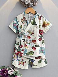 cheap -2pcs Kids Vintage / Chinoiserie Daily / Beach Print Lace up / Printing Short Sleeve Cotton / Linen Sleepwear / Cotton / Linen / Vintage