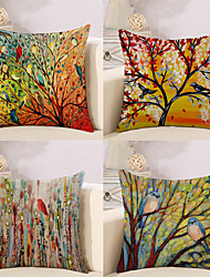 cheap -4 pcs Cotton / Linen Pillow Cover, Botanical / Animal / Oil Painting Artistic Style / Pastoral Style