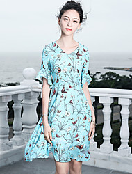 cheap -Blueskybutterfly Women's Basic / Sophisticated Flare Sleeve Trumpet / Mermaid Dress - Floral Ruffle / Print