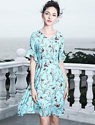 baratos -Mulheres Básico / Sofisticado Manga Alargamento Sereia Vestido - Frufru / Estampado, Floral Acima do Joelho