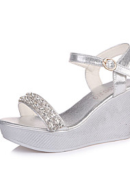 cheap -Women's Shoes PU Summer Comfort Sandals Wedge Heel for Casual Gold Silver