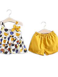 abordables -Bebé Chica Básico Estampado Estampado Sin Mangas Algodón Conjunto de Ropa
