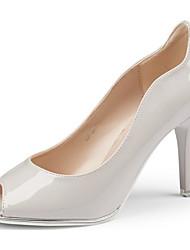 cheap -Women's Patent Leather Summer Basic Pump Heels Stiletto Heel Peep Toe White / Black / Pink