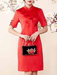 baratos -Mulheres Sofisticado / Moda de Rua Bainha Vestido - Fenda / Bordado, Sólido / Floral Acima do Joelho