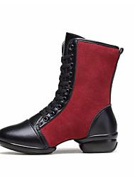 baratos -Mulheres Botas de Dança Pele Têni Salto Espetáculo Ensaio / Prática Salto Baixo Preto Vermelho