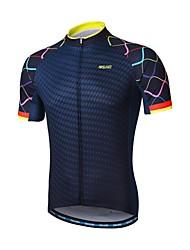 abordables -Arsuxeo Homme Manches Courtes Maillot de Cyclisme - Bleu marine Vélo Maillot, Bandes Réfléchissantes, Anti-transpiration