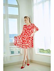 Недорогие -Жен. С летящей юбкой Платье - Геометрический принт Выше колена