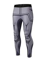 baratos -Homens Leggings de Corrida - Cinzento Esportes Desenhos 3D Meia-calça / Leggings / Calças Fitness, Ginásio, Exercite-se Roupas Esportivas Respirabilidade Elasticidade Alta