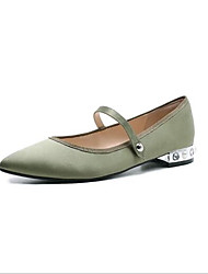 cheap -Women's Shoes Satin Spring & Summer Comfort Flats Flat Heel Round Toe for Outdoor Black / Green / Nude