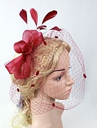 cheap -Tulle Headpiece with Feather 1pc Wedding / Special Occasion Headpiece