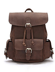 cheap -Women's Bags Genuine Leather School Bag Buttons / Zipper Brown