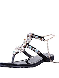 cheap -Women's Shoes Leatherette Summer Comfort / Gladiator Sandals Flat Heel Open Toe Rhinestone Black