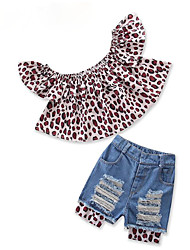cheap -Kids Toddler Girls' Leopard Short Sleeves Clothing Set
