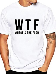 economico -T-shirt Per uomo Moda città Con stampe, Tinta unita / Alfabetico