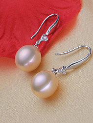 cheap -Women's Drop Earrings - S925 Sterling Silver, Freshwater Pearl Simple, Natural, Elegant White For Party / Gift