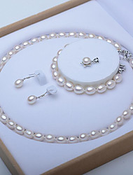 baratos -Mulheres S925 Sterling Silver / Pérolas de água doce Luxo Conjunto de jóias 1 Colar / 1 Bracelete / Brincos - Formal / Luxo / Elegante
