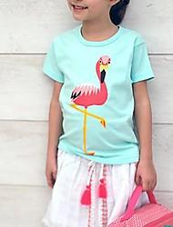 Недорогие -Дети / Дети (1-4 лет) Девочки Кран Гусиная лапка С короткими рукавами Футболка