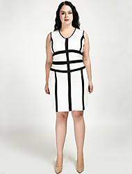 abordables -Femme Grandes Tailles Travail Chic de Rue Mince Courte / Gaine Robe - Mosaïque, Couleur Pleine Col en V Midi / Mi-long Noir & Blanc